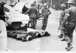 Represión en las calles de Santiago
