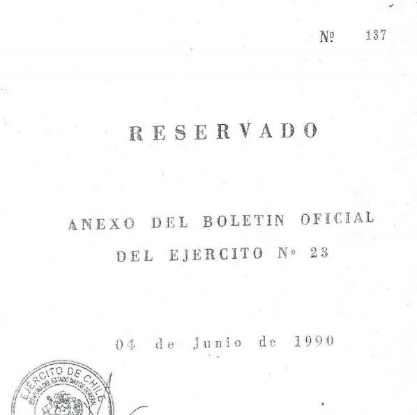 Portada del documento del Ejército donde Parvex aparece siendo trasladado de la CNI a la DINE.