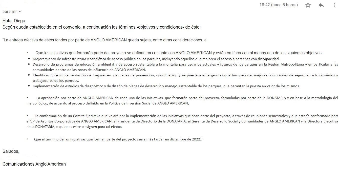 Respuesta de Anglo American a consultas de INTERFERENCIA
