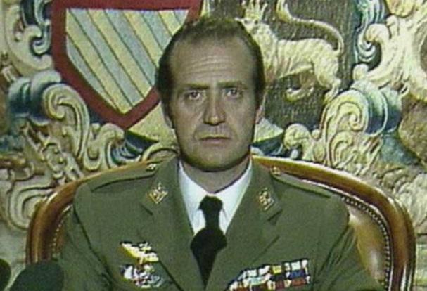 El rey rechazando el intento de golpe militar en 1981.
