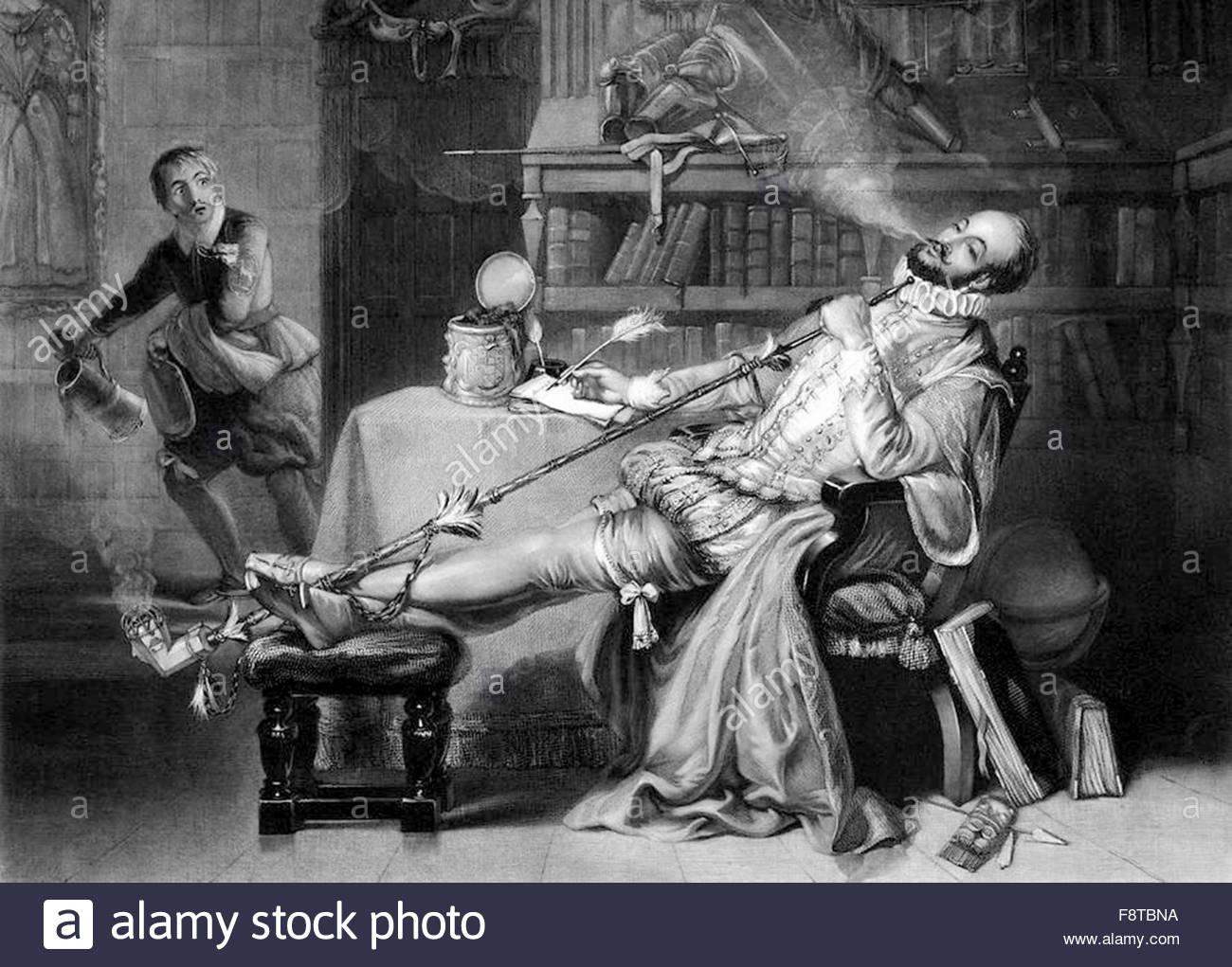 Sir Walter Raleigh, Fumar tabaco desde un tubo en Inglaterra.