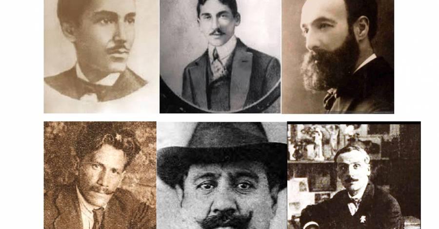 Anarquistas destacados: arriba, de izquierda a derecha, Domingo Gómez Rojas, Carlos Pezoa Véliz, Manuel Magallanes Moure; abajo, Julio Rebosio, Benito Rebolledo, Augusto D'Halmar