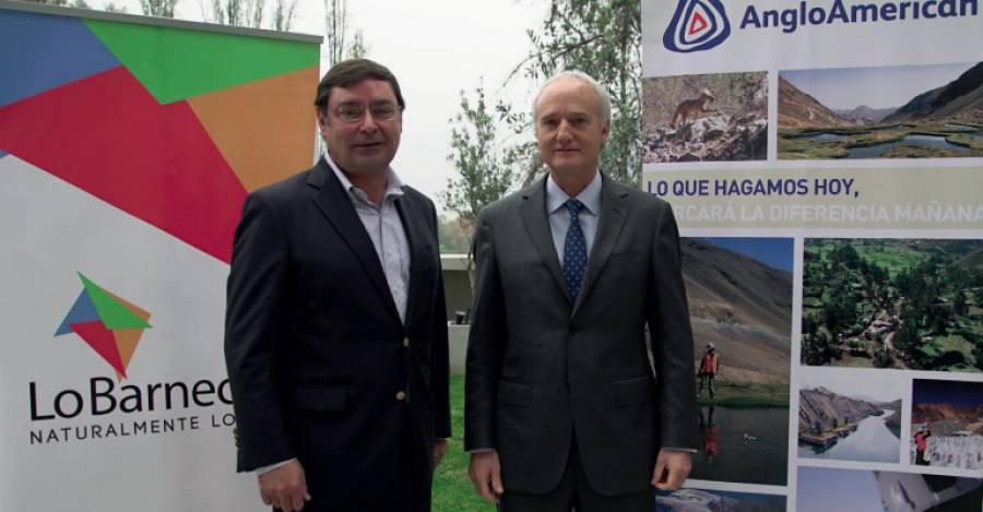 Alcalde de Lo Barnechea, Felipe Guevara, junto al vicepresidente de Asuntos Corporativos de Anglo American, Felipe Purcell (créditos: Anglo American).