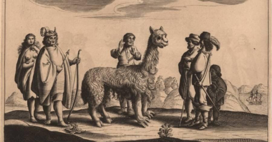 """""""Una oveja-camello, un chileno y su mujer"""", Jan I. Bouman, 1646. Memoria Chilena"""