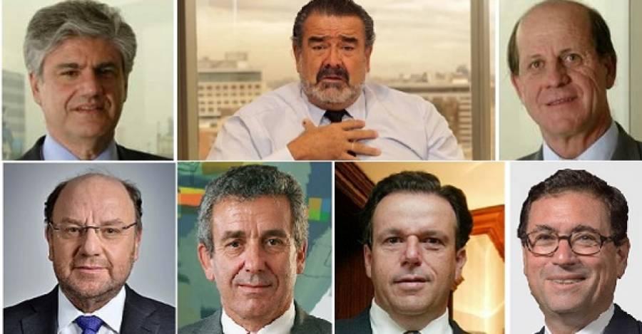 Arriba: Carlos Lavín, Andrónico Luksic y Carlos Alberto Délano. Abajo: Alfredo Moreno, Leonidas Vial, Juan Bilbao y Francisco Pérez Mackenna.