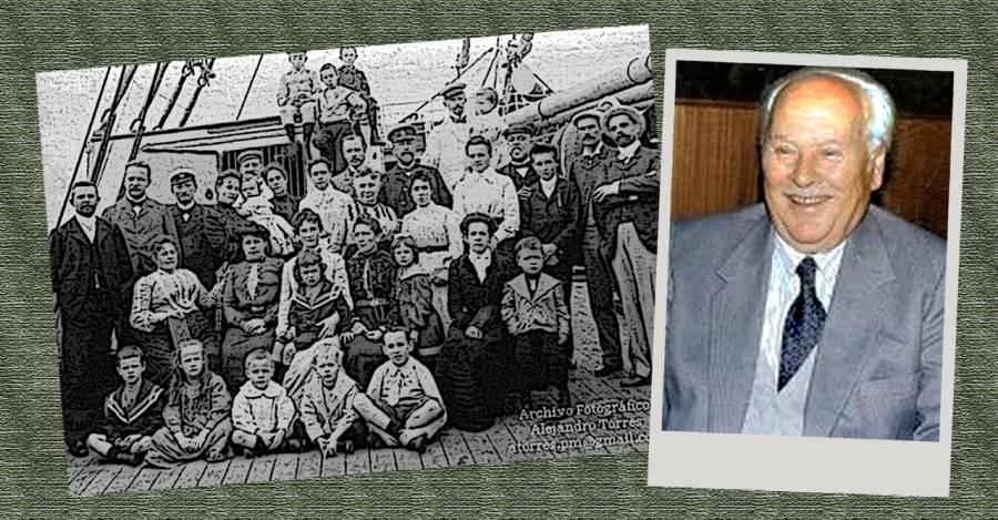 Fotografía referencial de inmigrantes alemanes a Chile y Germán Becker Bäechler