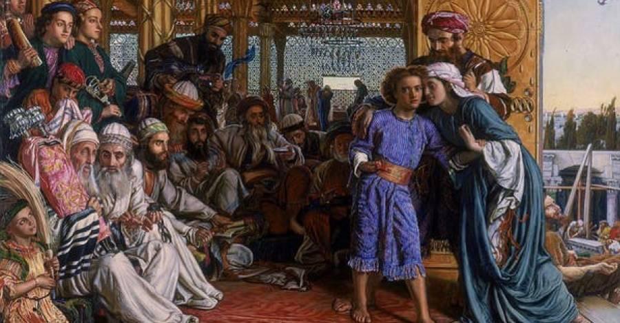 El hallazgo del Salvador en el Templo, de William Holman Hunt.  William Holman Hunt via Wikimedia Commons.
