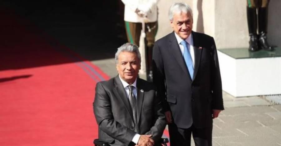 Los presidentes de Ecuador y Chile en La Moneda. Hoy son los dos más impopulares de América