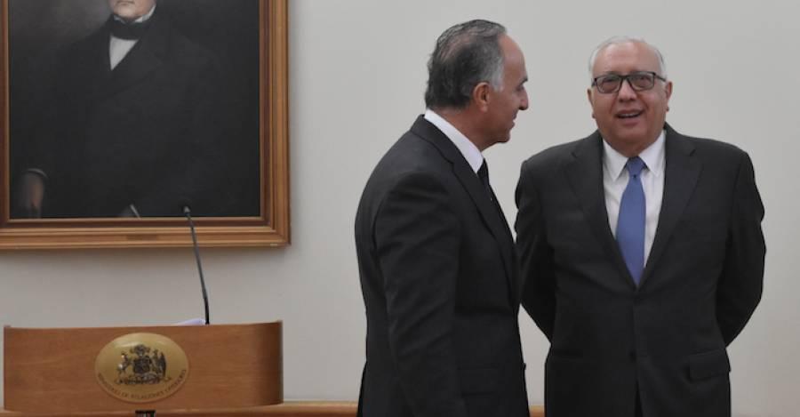 El canciller Teodoro Ribera junto al empresario Álvaro Saieh. Foto: Prochile