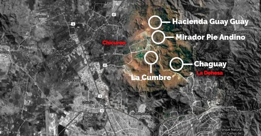 Los cuatro proyectos en cuestión están en la tenaza inmobiliaria que hay entre Chicureo y La Dehesa