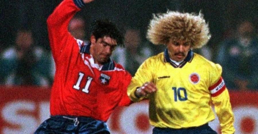 Marcelo Salas, autor de 3 goles en Santiago, frente a Carlos Valderrama