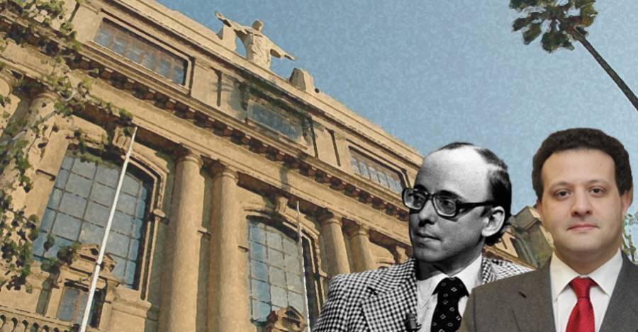 Jaime Guzmán y Gabriel Bocksang, actual decano de la Facultad de Derecho de la UC.