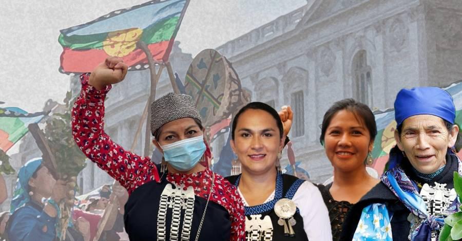 De izquierda a derecha: Elisa Loncon, Rosa Catrileo, Natividad Llanquileo y Francisca Linconao