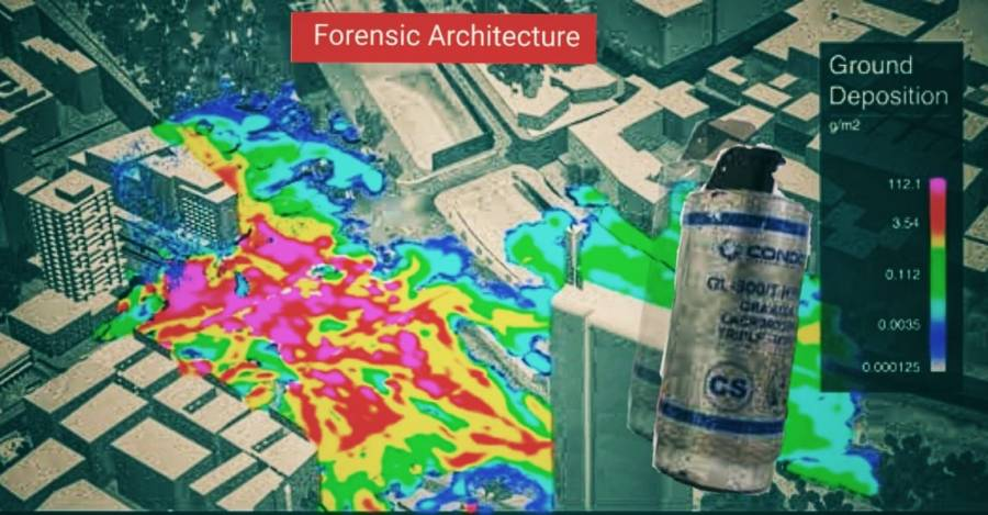 Mapa de acumulación de gas CS en Plaza Dignidad. Fuente: Forensic Architecture
