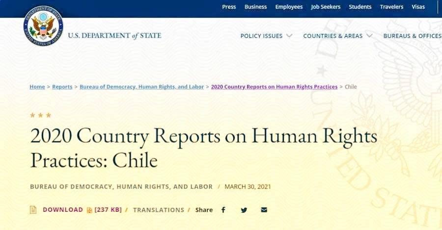 Informe de EE. UU. sobre derechos humanos en Chile para el 2020
