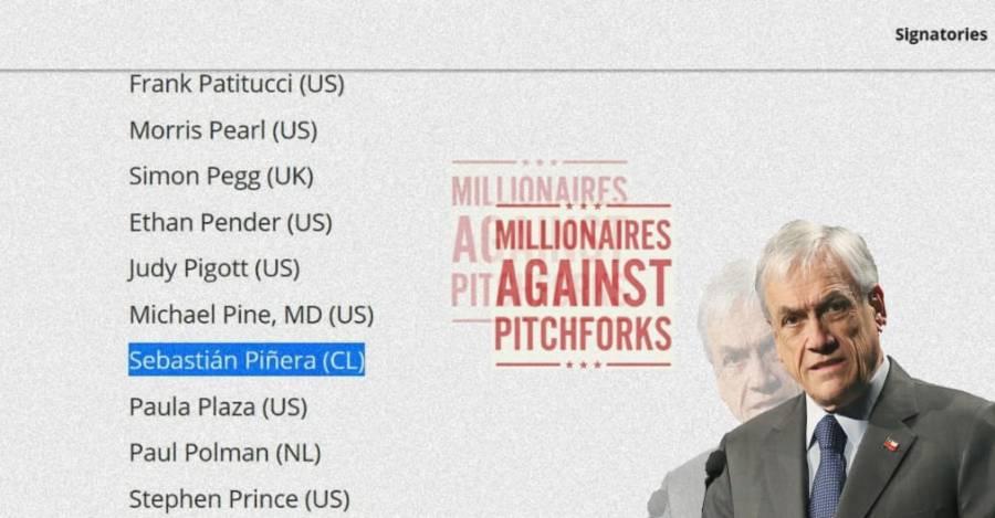 De fondo, los firmantes de la iniciativa Millionaires Against Pitchfork, donde se encuentra Piñera