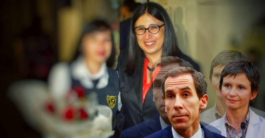 De fondo, la ex directora Gallardo. En la esquina, Tohá, quien inicio el sumario, y Alessandri, quien firmó su despido