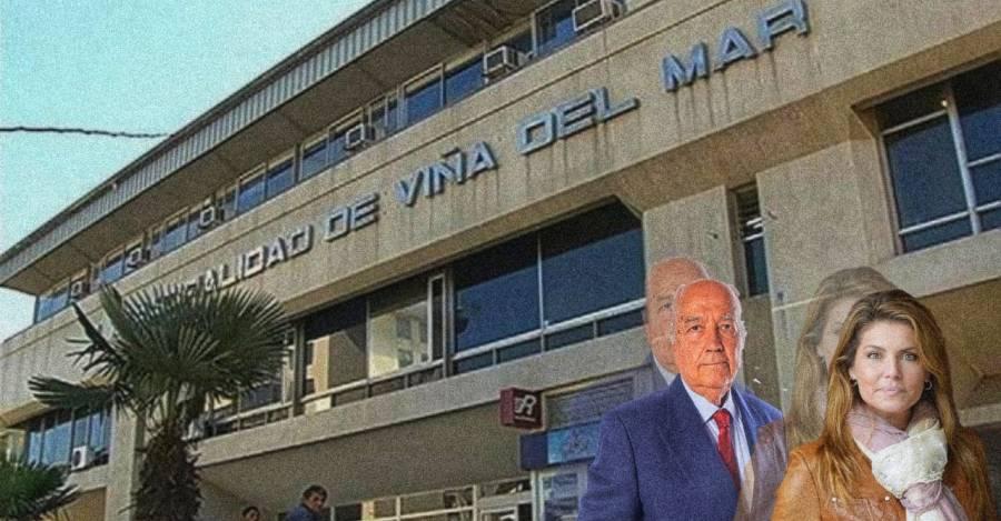 De fondo, la Municipalidad de Viña del Mar. En frente Jorge Arancibia y Andrea Molina