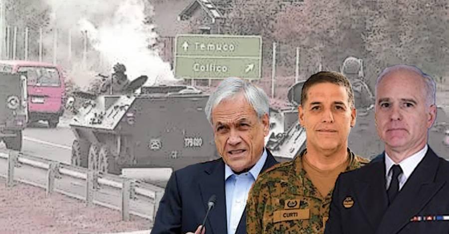 De izquierda a derecha: Sebastián Piñera, general Lionel Curti y almirante Jorge Parga.
