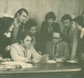 Algunos antiguos gremialistas junto a Guzmán. Entre ellos; Miguel Kast, Antonio Vodanovic, Manfredo Mayol y Javier Leturia