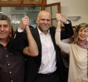 Triunfantes en las elecciones internas del PS en 2017: Andrés Santander, Álvaro Elizalde e Isabel Allende.