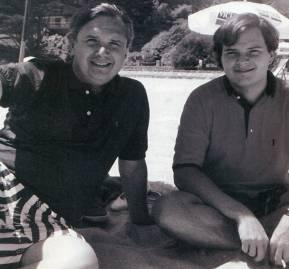 Herman Chadwick Piñera y su hijo Hernán Chadwick Larraín, en Zapallar, en 1989.