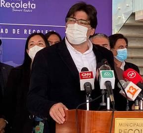 Jadue en conferencia de prensa como alcalde de Recoleta