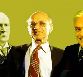 Fotografía: Ramón Barros Luco, Milton Friedman, Sebastián Piñera.