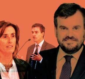 De izquierda a derecha, Marcela Cubillos, ministra de Educación; Raimundo Larraín Hurtado, jefe de la División de Educación General; y Carlos Larraín Hurtado, representante en Chile de Data Conversion Service.