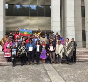Abogada Karina Riquelme junto a miembros de la comunidad autónoma de Temucuicui en la Corte de Apelaciones de Temuco.