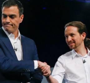 Pedro Sánchez y Pablo Iglesias, líderes del PSOE y Unidas Podemos. Crédito: EFE