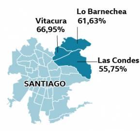 Imagen: BBC, las comunas donde ganó el Rechazo