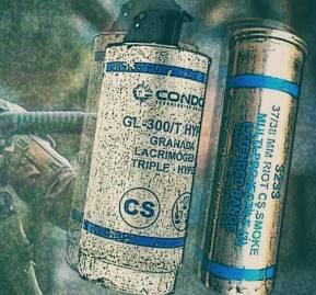Granada lacrimógena CS y cartucho lacrimógeno CS de 37 mm