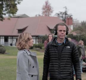 El director junto a la actriz Mercedes Morán durante el rodaje de la película.