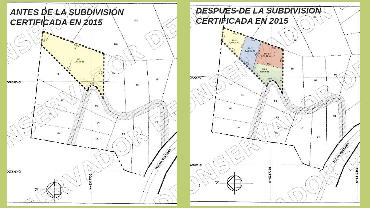 Ejemplo de una de las subdivisiones en uno de los predios del condominio Mirador Pie Andino, certificada el 16 de junio de 2015. Planos extraídos del registro del Conservador de Bienes Raíces de Santiago. Colores añadidos por nuestro medio.