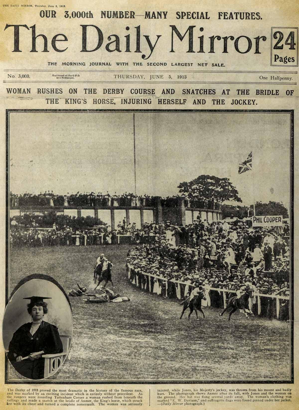 Portada del periódico Daily Mirror en 1913
