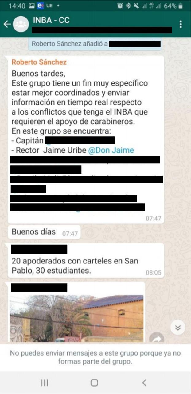 Mensaje de bienvenida enviado por el funcionario municipal Roberto Sánchez, explicando utilidad del grupo