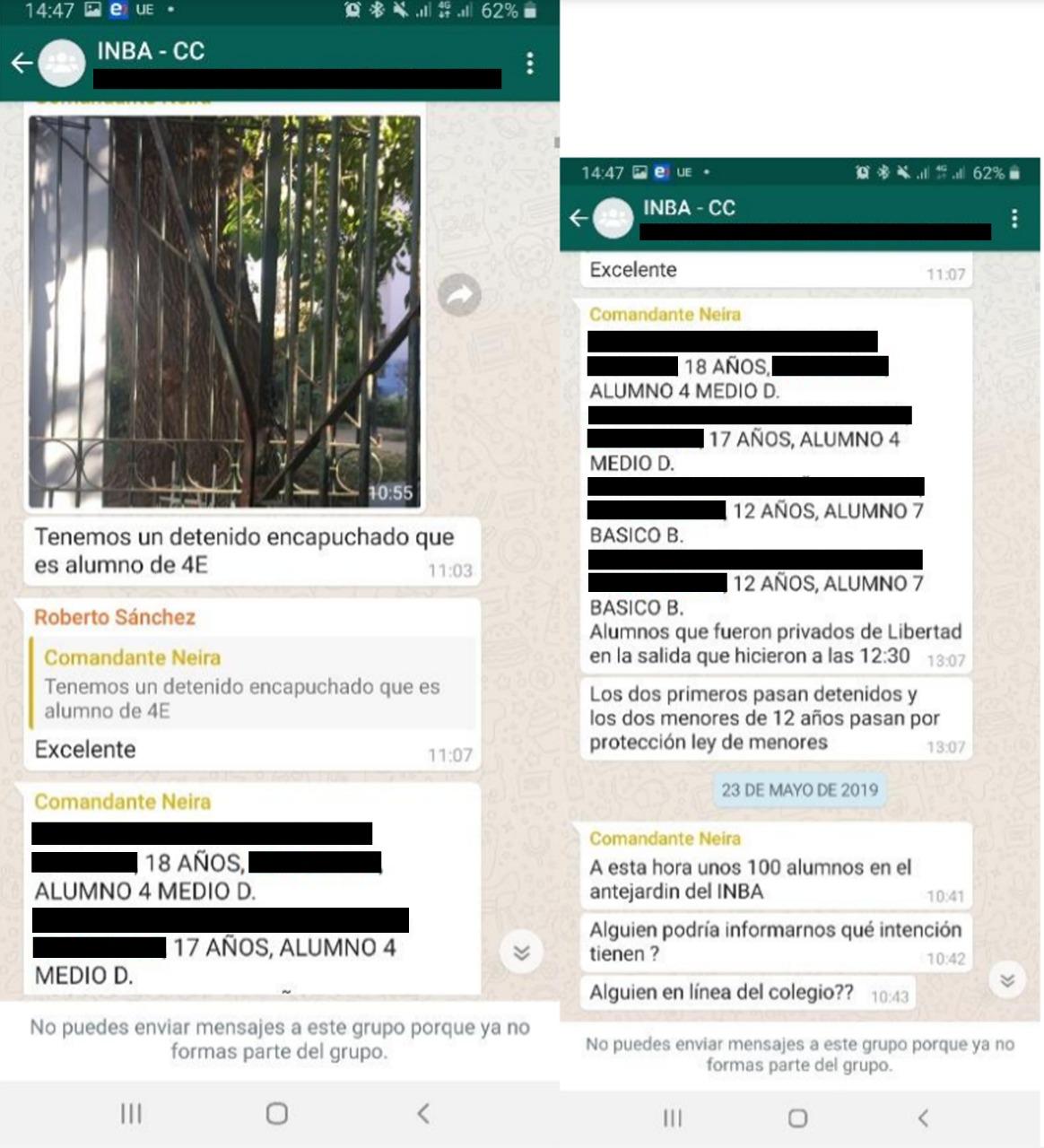 Carabineros publica a civiles información sensible de estudiantes detenidos