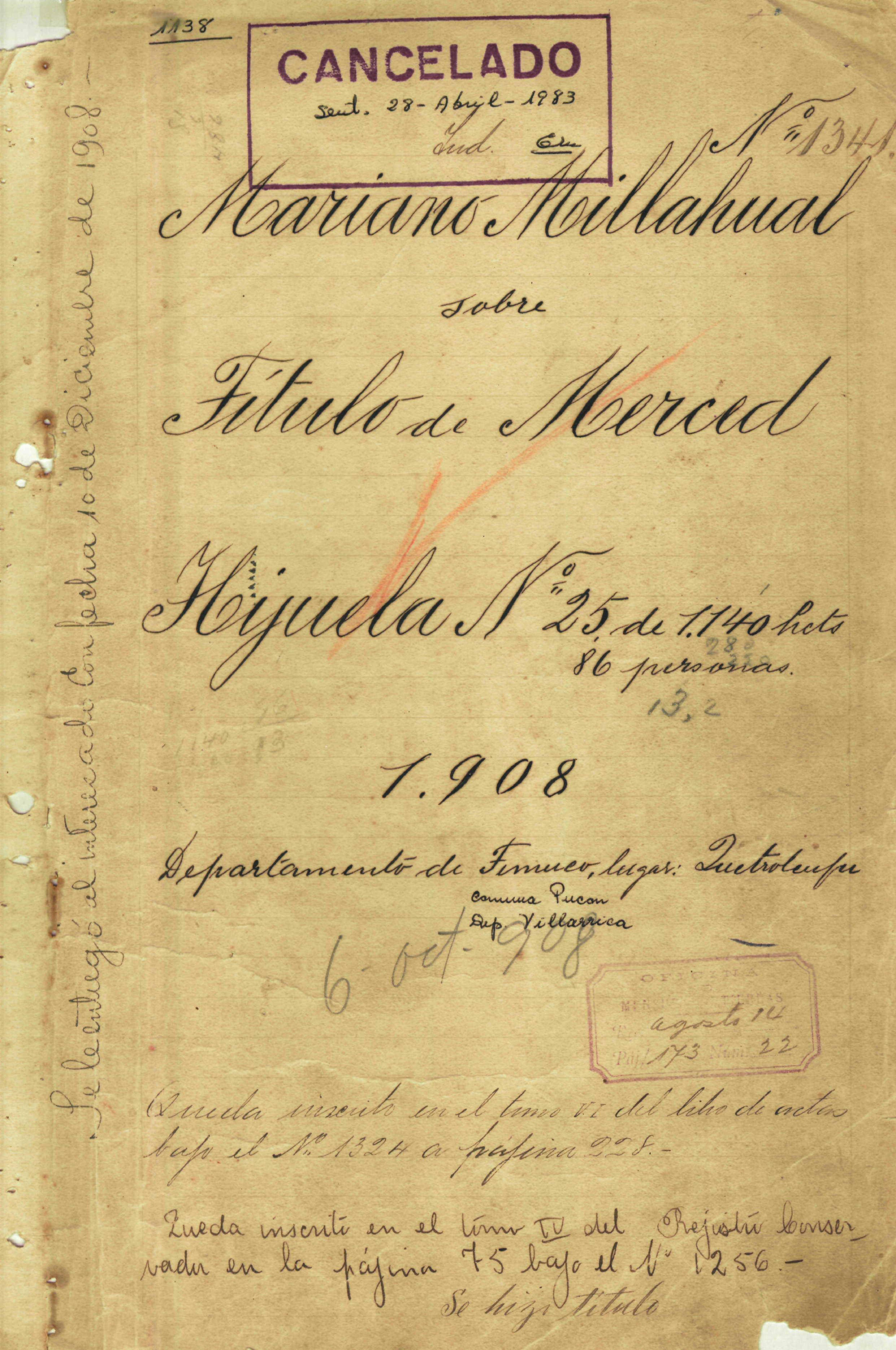 Portada del título de merced de la Comunidad Mariano Millahual de 1908. Vigente hasta 1983 cuando fue dividida / interferencia