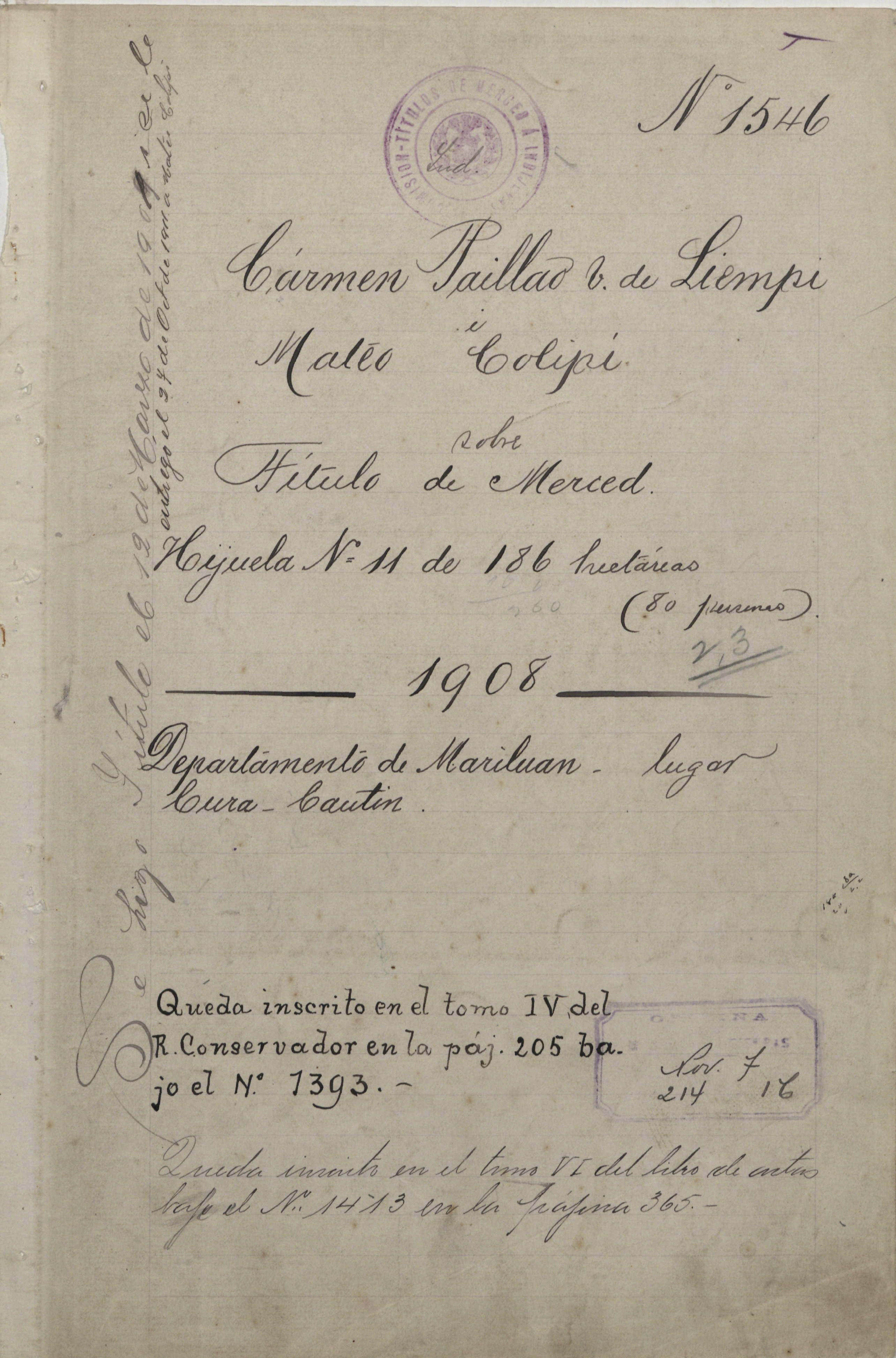 Título de Merced de la comunidad Liempi Colipi. Documento adquirido en el Archivo General de Asuntos Indígenas (Conadi).