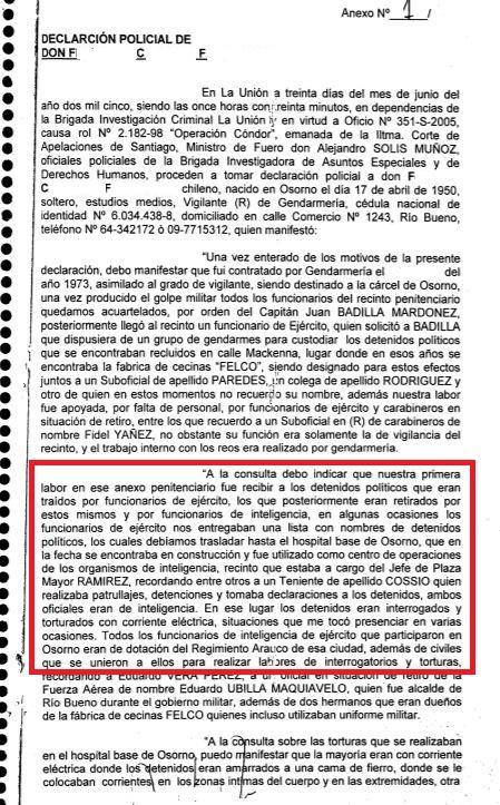 Declaración policial de F.C.F.