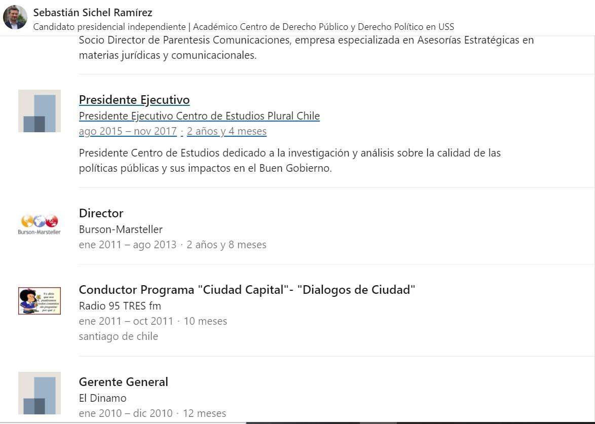 El perfil en LinkedIn de Sichel a la semana pasada, donde figura en B-M desde enero de 2011